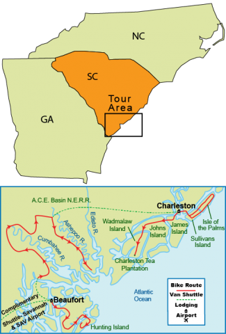 Lowcountry South Carolina Map.Bike Tour Of Charleston South Carolina S Lowcountry Carolina